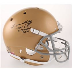 """Lou Holtz Signed Notre Dame Fighting Irish Full-Size Helmet Inscribed """"Play Like A Champion Today"""" ("""