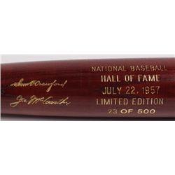 Sam Crawford  Joe McCarthy LE Custom Engraved Louisville Slugger Powerized Hall of Fame Logo Basebal