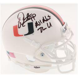 "Warren Sapp Signed Miami Hurricanes Mini Helmet Inscribed ""All About the U"" (Beckett COA)"
