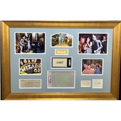 """""""The Wizard of Oz"""" 28x40 Custom Framed Cut Display Signed by (6) with Judy Garland, Ray Bolger, Jack"""