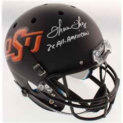"""Thurman Thomas Signed Oklahoma State Cowboys Full-Size Matte Black Helmet Inscribed """"2x All-American"""