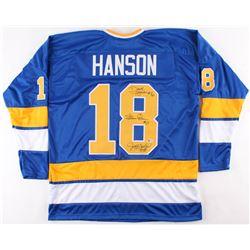 Dave Hanson, Steve Carlson  Jeff Carlson Signed Jersey (Beckett COA)