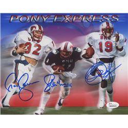 "Eric Dickerson, Craig James  Lance McIlhenny Signed SMU Mustangs ""Pony Express"" 8x10 Photo (JSA COA)"