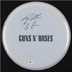"""Steven Adler Signed Guns N' Roses 12.5"""" Drum Head Inscribed """"GnR"""" (Beckett COA)"""