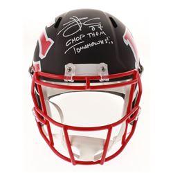"Travis Kelce Signed Kansas City Chiefs Full-Size AMP Alternate Speed Helmet Inscribed ""Chop Them Tom"