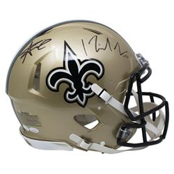Alvin Kamara  Michael Thomas Signed New Orleans Saints Full-Size Authentic On-Field Speed Helmet (JS
