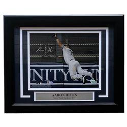 Aaron Hicks Signed New York Yankees 11x14 Custom Framed Matted Photo Display (MLB Hologram  Fanatics