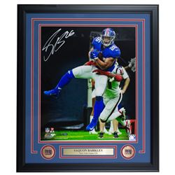 Saquon Barkley Signed LE New York Giants 22x27 Custom Framed Photo Display (Panini COA)