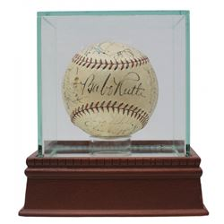 Babe Ruth, Lou Gehrig Signed 1933 New York Yankees OAL Baseball with High Quality Display Case Team-