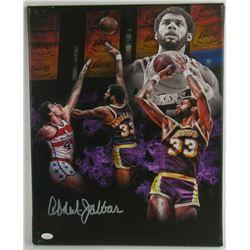 Kareem Abdul-Jabbar Signed Los Angeles Lakers 16x20 Photo on Canvas (JSA COA)
