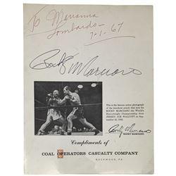 "Rocky Marciano Signed Brochure Inscribed ""7-1-67"" (JSA LOA)"