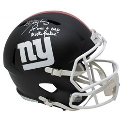 "Lawrence Taylor Signed Giants Full-Size Matte Black Speed Helmet Inscribed ""LT Was a Bad M***** F***"