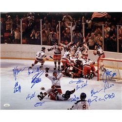 """1980 Team USA """"Miracle On Ice"""" 16x20 Photo Signed by (14) with Jim Craig, Mike Eruzione, Bill Baker,"""