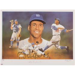 Roy Campanella Signed LE Los Angeles Dodgers 18x24 Lithograph (PSA Hologram)