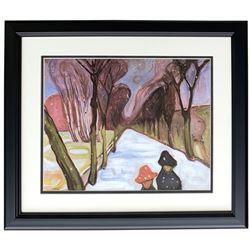 "Edvard Munch ""Snow Falling in the Lane"" 18x20 Custom Framed Print Display"