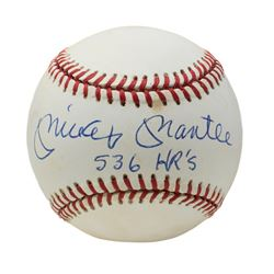 """Mickey Mantle Signed OAL Baseball Inscribed """"536 HR's"""" (PSA LOA)"""