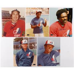 Lot of (5) Signed Montreal Expos 8x10 Photos with Gary Carter, Tim Raines, Andre Dawson, Bill Gullic