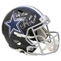 Ezekiel Elliott  Dak Prescott Signed Dallas Cowboys Full-Size Matte Black Speed Helmet (Beckett COA