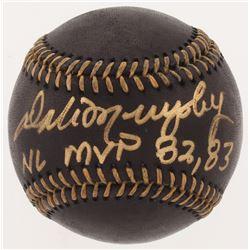 "Dale Murphy Signed OML Black Leather Baseball Inscribed ""NL MVP 82, 83"" (Radtke COA)"