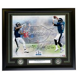 Trey Burton  Nick Foles Signed Philadelphia Eagles Superbowl LII 22x27 Custom Framed Photo Display I