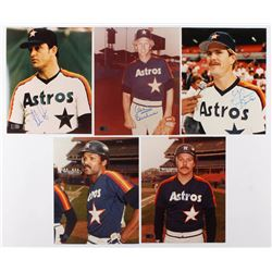 Lot of (5) Signed Houston Astros 8x10 Photos with Nolan Ryan, Don Sutton, Glenn Davis, Omar Moreno,
