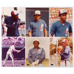 Lot of (6) Signed Montreal Expos 8x10 Photos with Andre Dawson, Tim Raines, Steve Rogers, Pete Rose,