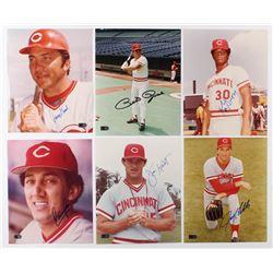 Lot of (6) Signed Cincinnati Reds 8x10 Photos with Johnny Bench, Pete Rose, Ken Griffey, Jim Kaat, J