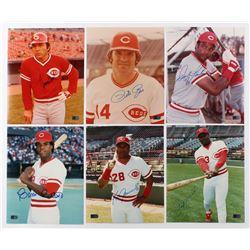 Lot of (6) Signed Cincinnati Reds 8x10 Photos with Johnny Bench, Pete Rose, Dave Parker, Cesar Ceden