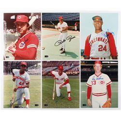 Lot of (6) Signed Cincinnati Reds 8x10 Photos with Johnny Bench, Pete Rose, Tony Perez, Eric Davis,