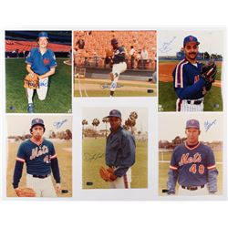 Lot of (6) Signed New York Mets 8x10 Photos with Frank Viola, Dwight Gooden, John Franco, Jesse Oros