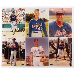 Lot of (6) Signed New York Mets 8x10 Photos with Gary Carter, Dave Cone, Frank Howard, Mike Torrez,