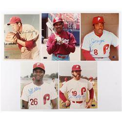 Lot of (5) Signed Philadelphia Phillies 8x10 Photos with Robin Roberts, Juan Samuel, Joe Morgan, Jef