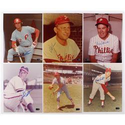 Lot of (6) Signed Philadelphia Phillies 8x10 Photos with Steve Carlton, Bob Lemon, Robin Roberts, Cu