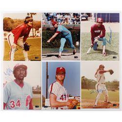 Lot of (6) Signed Philadelphia Phillies 8x10 Photos with Pete Rose, Steve Carlton, Juan Samuel, Gary