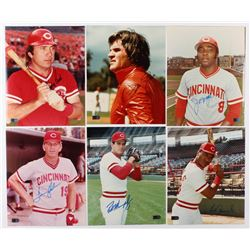 Lot of (6) Signed Cincinnati Reds 8x10 Photos with Johnny Bench, Pete Rose, Joe Morgan, Tommy Helms,