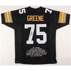 """Joe Greene Signed Career Highlight Stat Jersey Inscribed """"HOF 87"""" (JSA COA)"""