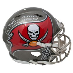 "Mike Alstott Signed Tampa Bay Buccaneers Full-Size Authentic On-Field Helmet Inscribed ""SB XXXVII Ch"