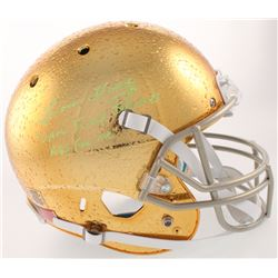 "Lou Holtz Signed Notre Dame Fighting Irish Full-Size Helmet Inscribed ""Save Jimmy Johnson's A** For"