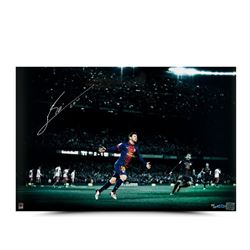 "Lionel Messi Signed Barcelona ""Colors of the Game"" 16x24 Photo (UDA COA)"