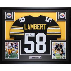 """Jack Lambert Signed 35x43 Custom Framed Jersey Display Inscribed """"HOF 90"""" (JSA COA)"""