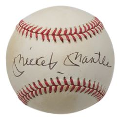 Mickey Mantle Signed OAL Baseball with Display Case (Beckett LOA)
