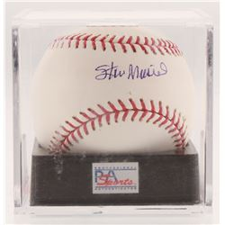 Stan Musial Signed OML Baseball with Display Case (PSA COA - Graded 9)