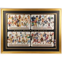 """Super Heroes of Sports"" 38x51 Custom Framed Artist Proof Lithograph Signed by (68) with Joe Namath,"