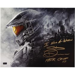 "Steve Downes Signed ""Halo"" 16x20 Photo Inscribed ""Master Chief 117""  ""I Need A Weapon"" (Radtke COA)"