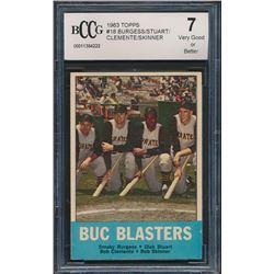 1963 Topps #18 Buc Blasters/Smoky Burgess/Dick Stuart/Bob Clemente/Bob Skinner (BCCG 7)
