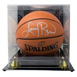Larry Bird Signed NBA Game Ball Series Basketball with Display Case (Beckett COA)