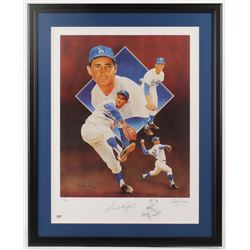 Sandy Koufax Signed LE Los Angeles Dodgers 23.75x29.75 Custom Framed Lithograph Display (PSA Hologra