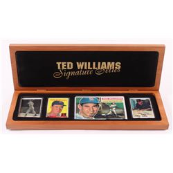 """Lot of (4) Ted Williams LE Porcelain Cards with (1) Signed  Display Case Inscribed """"MVP 69"""", """"HOF 86"""