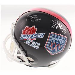 Phil Simms  Jeff Hostetler Signed New York Giants Super Bowl XXI  XXV Logo Full-Size Helmet (Schwart