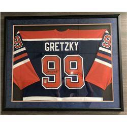 Wayne Gretzky Signed Edmonton Oilers 34x42 Custom Framed Jersey (Gretzky COA)